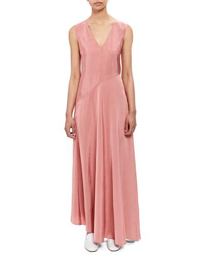 V-Neck Sleeveless Draped Bias-Cut Dress