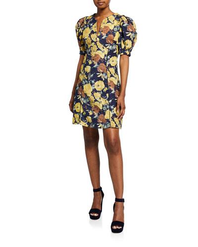 Ella Floral-Print Puff-Sleeve Mini Cotton Dress