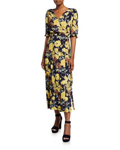 Ella Floral-Print Ruffle Midi Wrap Dress