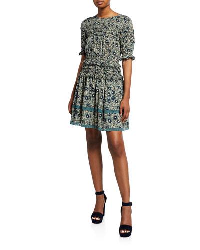 Lucia Elbow-Sleeve Smocked Mini Dress