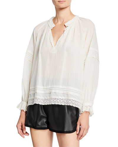 Viola Long-Sleeve Pintuck Blouse with Lace
