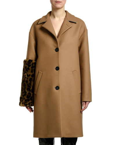 Leopard-Sleeve Single-Breasted Wool Coat