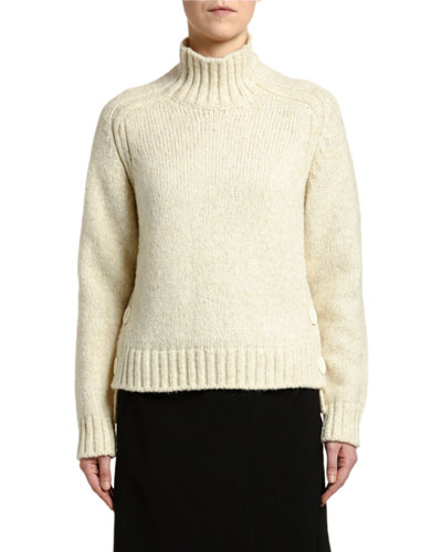 Alpaca Turtleneck Sweater with Buttons