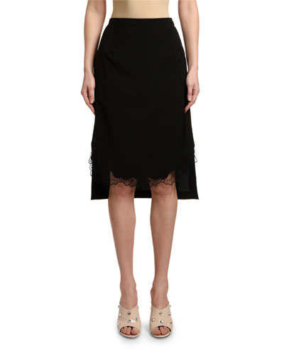 Cool Wool Pencil Skirt with Lace Hem