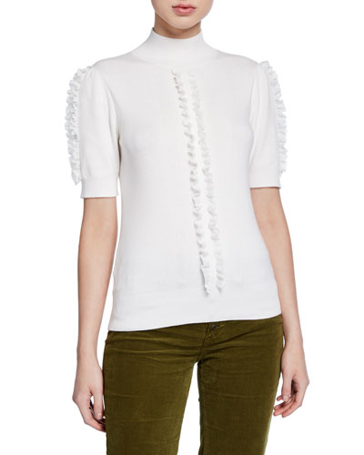 Short-Sleeve Knit Top with Ruffle Trim