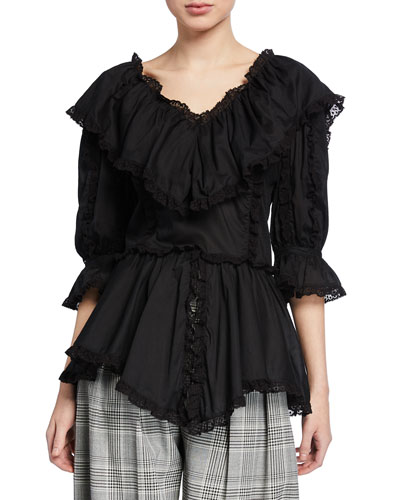 4cfdbf2a9864ce 3/4-Sleeve Ruffle Top with Lace Quick Look. See by Chloe
