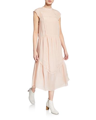 Scalloped Cap-Sleeve High-Neck Midi Dress