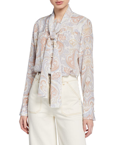 Long-Sleeve Paisley Tie-Neck Top