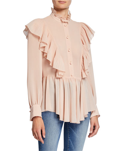 8b25c889c1353d Mock-Neck Long-Sleeve Button-Down Ruffle Top