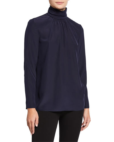 Turtleneck Long-Sleeve Silk Crepe De Chine Blouse