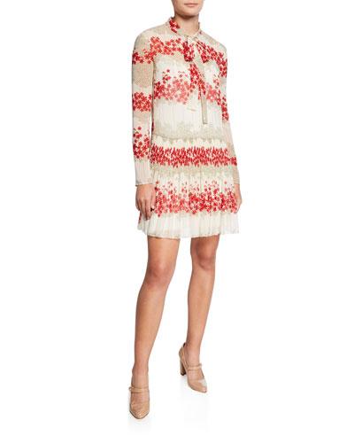 533158fe5a01 Dreaming Peony Print Tie-Neck Long-Sleeve Muslin Dress