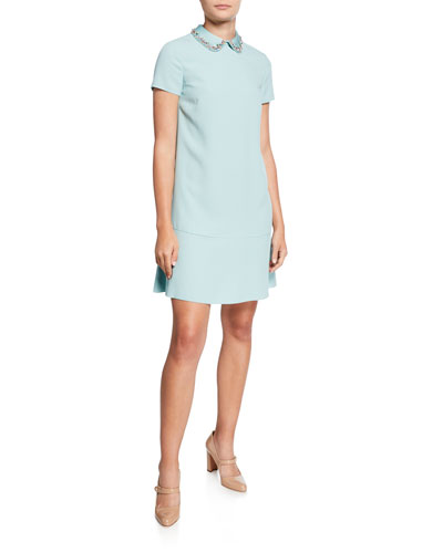 Envers Short-Sleeve Crepe Satin Dress with Embellished Collar