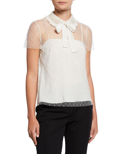 Peter Pan Collar Short-Sleeve Point d'Esprit Top