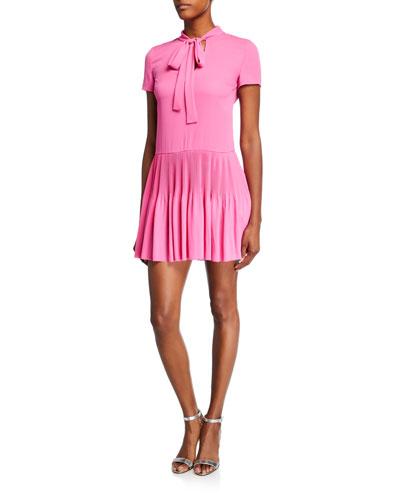 Tie-Neck Short-Sleeve Double Georgette Mini Dress