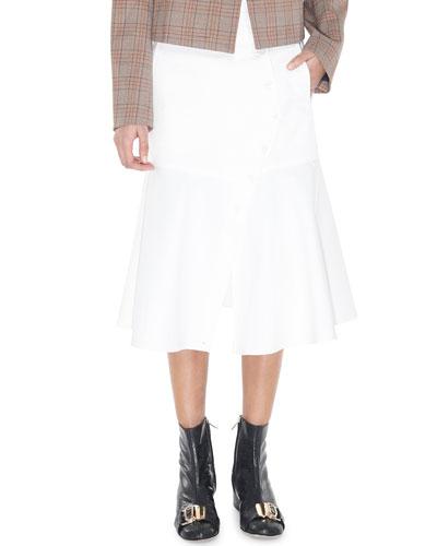 Dominic Twill Flare Midi Skirt