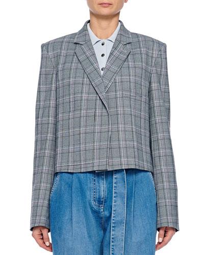 James Menswear Check Button-Front Cropped Blazer