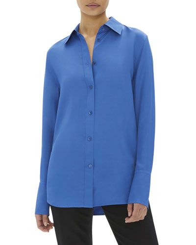 Button-Down Long-Sleeve Viscose Shirt