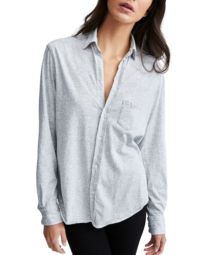 Essential Jersey Button-Down Cotton Shirt