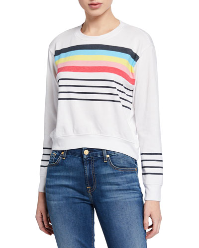 Striped Blouson Cropped Sweatshirt