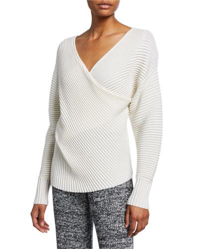 Drape-Front Wool Sweater