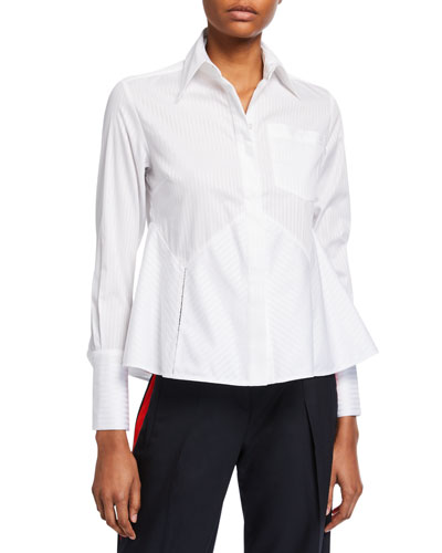 Flounce-Hem Striped Shirt