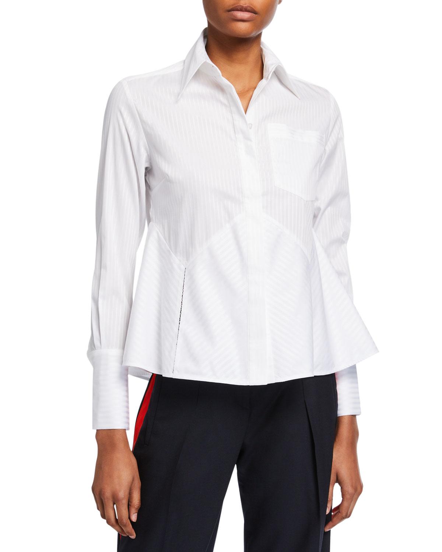 Victoria Victoria Beckham T-shirts FLOUNCE-HEM STRIPED SHIRT