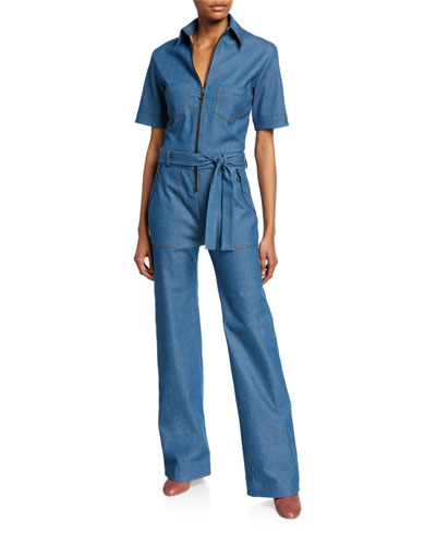 Collared Zip-Front Jumpsuit