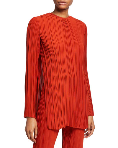 Long-Sleeve Pleated Top