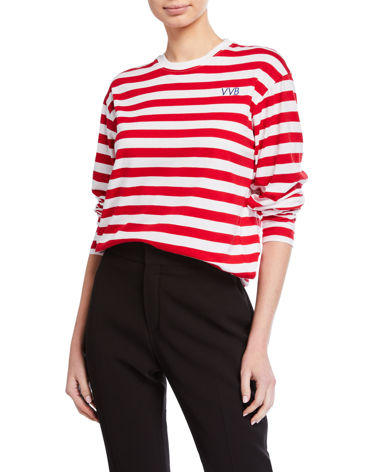 Victoria Victoria Beckham Tops STRIPED LONG-SLEEVE CREWNECK TEE