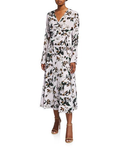 Elle Floral-Print Long-Sleeve Faux-Wrap Midi Dress