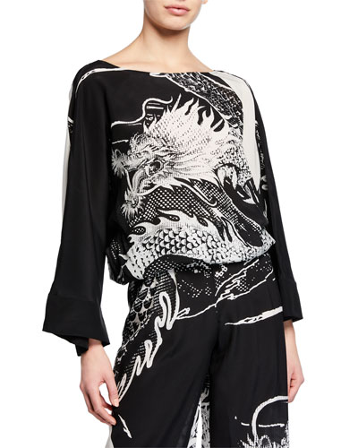 Dragon-Print Silk Coverup Top