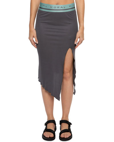 Stone Asymmetrical Skirt with Split