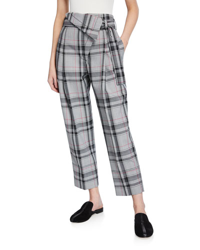Plaid Belted Overlap Trousers