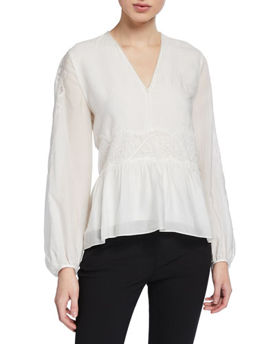 V-Neck Blouson-Sleeve Silk Lace Top