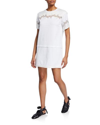 Short-Sleeve Lace-Inset T-Shirt Dress