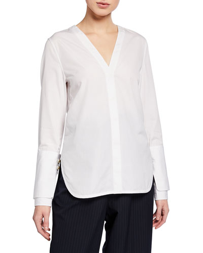 Long-Sleeve Poplin Top with Pearl Cuffs