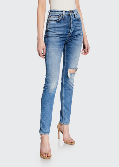 Ultra High-Rise Distressed Straight-Leg Jeans