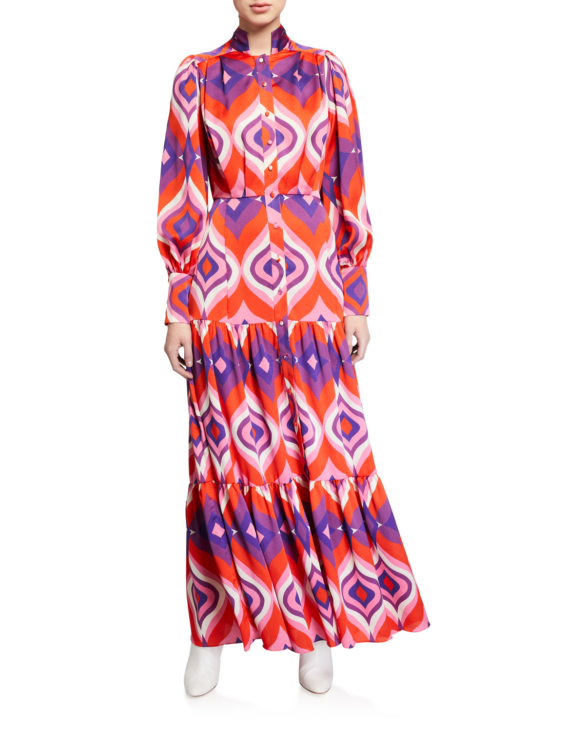 Alexis Dresses DOMINICA PRINTED BUTTON-FRONT TIERED MAXI DRESS