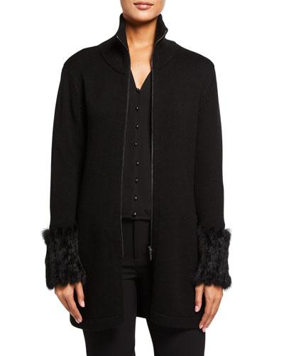 Kassia Wool Zip-Front Sweater with Rabbit Fur