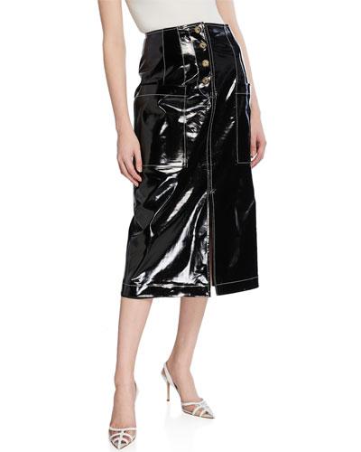 Carmen Coated Button-Front Skirt