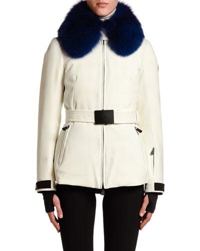 Ecrins Fur-Collar Belted Coat