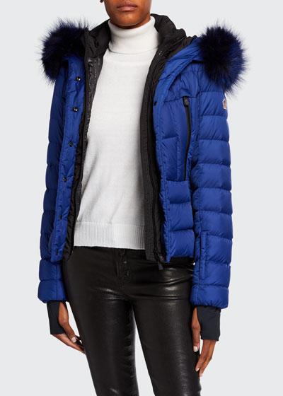 Beverley Belted Puffer Coat w/ Fur Trim