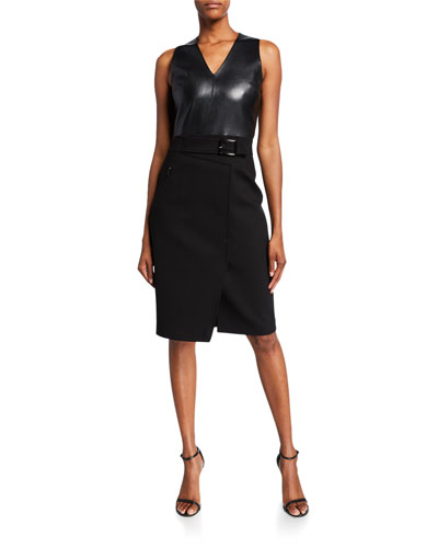 Auriana Sleeveless Leather-Bodice Dress