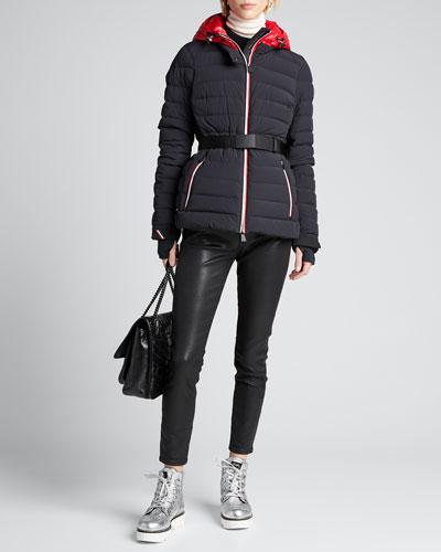 Channel-Quilt Tricolor-Zip Jacket w/ Belt