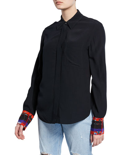 Long-Sleeve Button-Down Shirt with Contrast Back