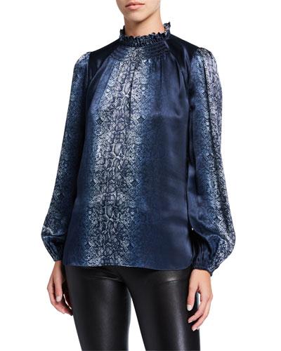 Hanna Snake-Print Blouson-Sleeve Silk Blouse