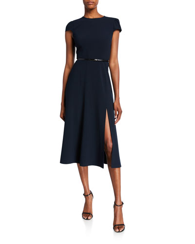 Miciela Cap-Sleeve Belted Dress with Slit