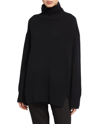 Oversized Cashmere Double Slit Turtleneck Sweater