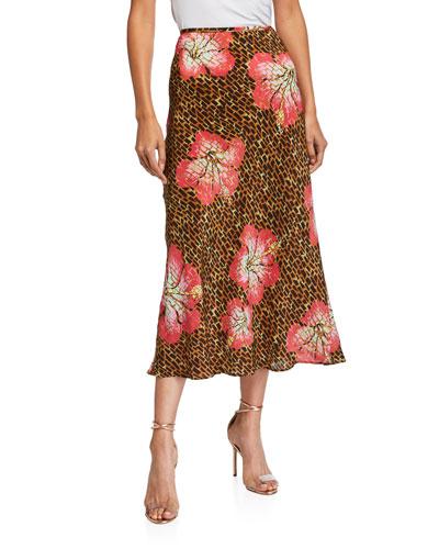Kelly Printed Silk Slip Skirt