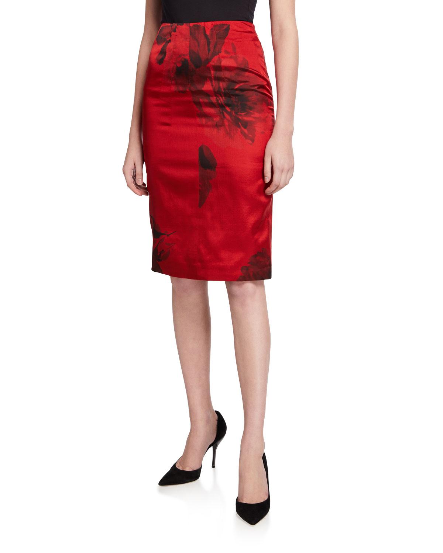 N°21 Skirts FLORAL-PRINT PENCIL SKIRT